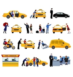 Set of taxi service icons vector