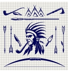 Sketch of native american indian vector image vector image