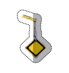 Sticker blurred crane hook holding a yellow vector