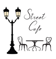 Street cafe - table chairs streetlight and vector