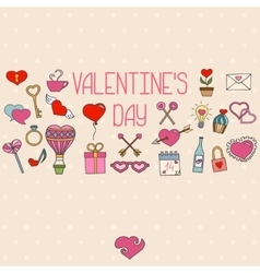 Valentines day decorations Hand drawn elements vector image