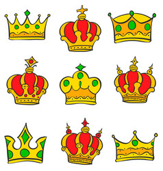 various style crown of doodle collection vector image