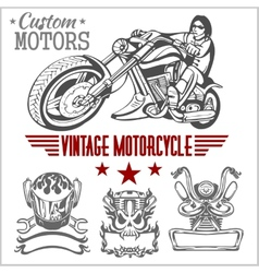 Vintage motorcycle labels badges and design vector image