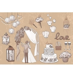 Vintage set of hand drawn wedding elements - vector