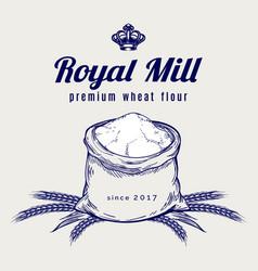 whole bag of wheat flour emblem vector image vector image