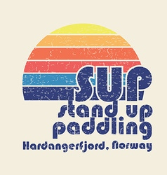 With signature sup stand up paddling hardan vector