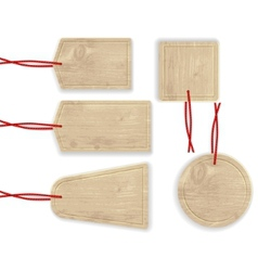 Wooden labels with red rope vector