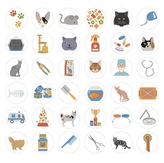 Cat characters and vet care icon set flat style vector
