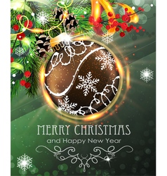 Brown christmas bauble with fir branches and vector
