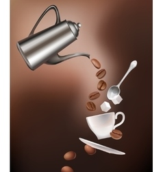 Coffee pot beans cup saucer spoon and sugar vector