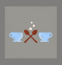 flat shading style icon coffee cups vector image