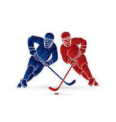 Hockey player action graphic vector
