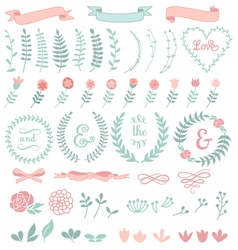 floral laurel wreath set vector image