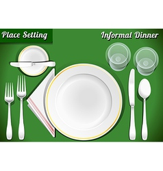 Set of place setting informal dinner vector