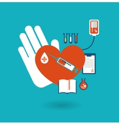 Hand holding a donor heart ready for blood vector