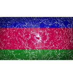Flags kuban republic with broken glass texture vector