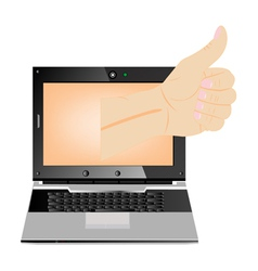 Computer thumbs up vector