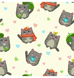 Seamless pattern with cute cartoon grey cats vector