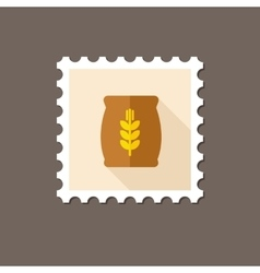 Sack of grain flat stamp with long shadow vector