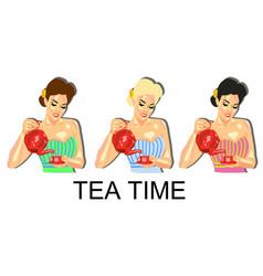 a girl with a teapot tea coffee cafe vector image vector image