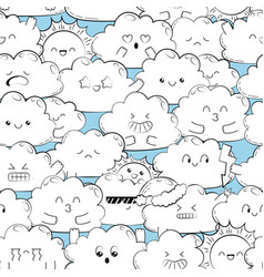 Background with cute doodle clouds vector