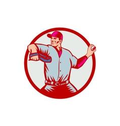Baseball pitcher throwing ball circle side woodcut vector