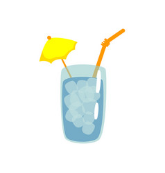 Blue cocktail with straw and umbrella cartoon vector