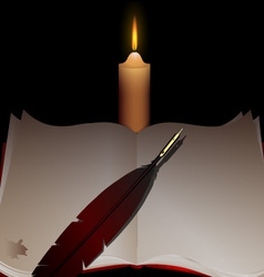 candle and book vector image vector image