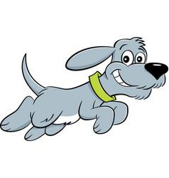 Cartoon dog leaping vector