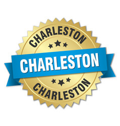 Charleston round golden badge with blue ribbon vector