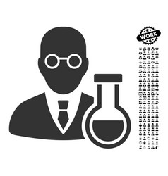 Chemist icon with job bonus vector