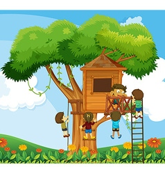 Children climbing up the treehouse in the garden vector image