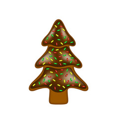 Christmas gingerbread in shape of tree vector
