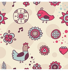 Cute seamless pattern with birds and flowers on vector