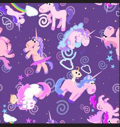 cute unicorn seamless pattern magic pegasus vector image vector image