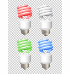 Different color lightbulbs on transparent vector