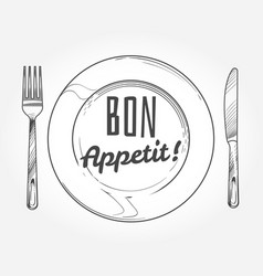 Dinner plate with knife and fork doodle sketch vector