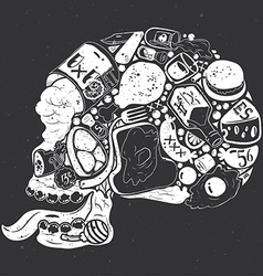 Figure skull of food collage vector