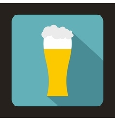 Glass of beer icon in flat style vector image vector image