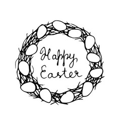 Happy easter card with eggs and wreath vector