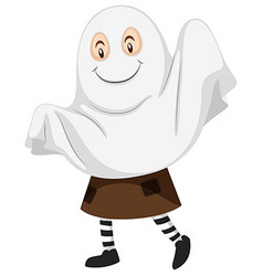 Kid in ghost costume for halloween vector