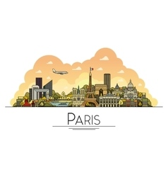 line art Paris France travel landmarks icon vector image