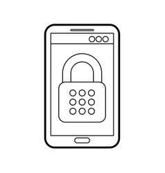 mobile phone padlock access data safety system vector image