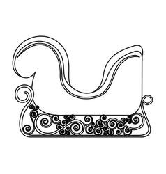 Monochrome contour of sleigh of santa claus vector
