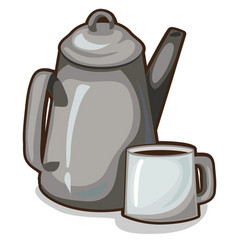old coffee pot and a cup vintage crockery vector image vector image