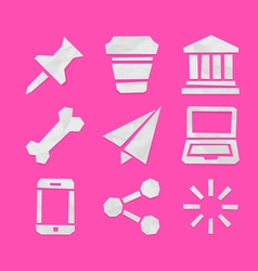Paper Cut Icons for Applications Set 7 vector image