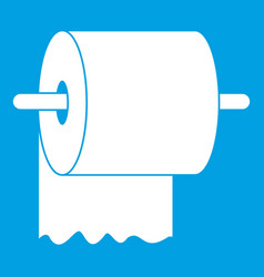 Roll of toilet paper on holder icon white vector