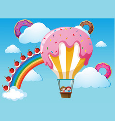 Scene with rainbow and candy balloon vector