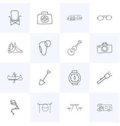 Set of 16 editable travel doodles includes vector