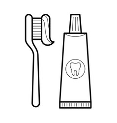 Toothpaste and brush icon vector